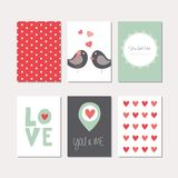 Set of love theme cards Royalty Free Stock Photos