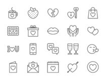 Set of Love and Valentines Day Line Icons. Hearts, Gift, Message, Kiss and more. vector illustration