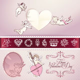 Set of love vector elements. For Valentine\\\'s day,wedding, love letter, web and print materials Royalty Free Stock Image
