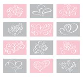 Set Love Vector Valentines day cards templates. Hand drawn February 14 gift tags, labels or posters collection. Vintage. Love lettering background Royalty Free Stock Photography