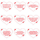 Set of love wishes quotes over white background. Stock Image