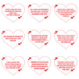 Set of love wishes quotes over white background. Royalty Free Stock Photos