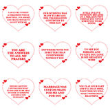 Set of love wishes quotes over white background. Stock Photo
