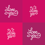 Set of love you lettering Valentine vector design Royalty Free Stock Photo