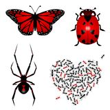 Set of lovebugs Stock Images