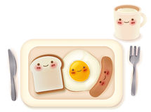 Set of Lovely Breakfast. Vector File EPS10 Stock Image