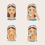 Set with lovely cartoon young brunette woman taking care of her skin and face. Vector collection.  Royalty Free Stock Images