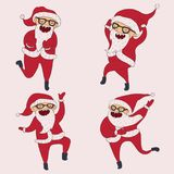 Set with lovely dancing Santa Claus, hand drawn in different dance steps. Vector collection with lovely character with closed eyes Stock Photo