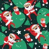 Set with lovely dancing Santa Claus, hand drawn in different dance steps. Vector seamless pattern with lovely character with close Stock Photography