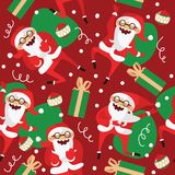 Set with lovely dancing Santa Claus, hand drawn in different dance steps. Vector seamless pattern with lovely character with close Royalty Free Stock Photos