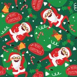 Set with lovely dancing Santa Claus, hand drawn in different dance steps. Vector seamless pattern with lovely character and letter Royalty Free Stock Image