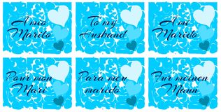 Set of Lovely greeting cards for husband isolated Royalty Free Stock Photography