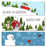 Set of 3 lovely winter cards templates. Stock Photos