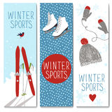Set of 3 lovely winter cards templates. Set of 3 lovely cards templates. Winter outdoor activities. and sport. There is a place for your text. Vector Stock Photos