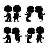 Set of lovers boy and girl siluet stock illustration