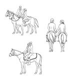 Set of loving couple riding a horse. Contour illustration. Royalty Free Stock Image