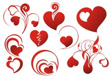 Set of loving hearts Royalty Free Stock Images