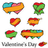 Set of loving hearts with banners Royalty Free Stock Image