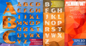 Set of low poly alphabet vector design on abstract textured poly Stock Photos