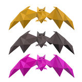 Set of low poly bat flying Stock Images