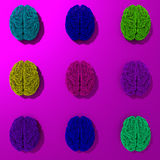 Set of low poly 3d brains illustration. Set of colorful pop art style, low poly brains illustration royalty free illustration