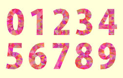 Set low poly digits numbers with a red tint Stock Images