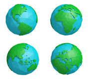 Set of low poly earth planet with four continents, polygonal globe icon. 3D rendering royalty free stock images