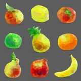 Set of low poly fruits Royalty Free Stock Images