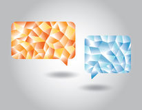 Set of low poly geometric speech bubbles. Set of abstract low poly geometric blue and orange speech bubbles Royalty Free Stock Image