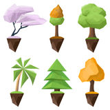 Set of low-poly and isometric vector trees on a white background