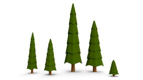 Set of low poly trees pine isolated on white background. 3D nature tree model with shadow on white desk. Useable on landscape vector illustration