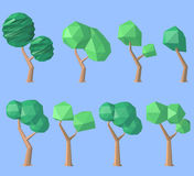 Set of low poly trees Stock Image