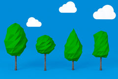 Set of Low Polygons Trees. 3d Rendering Stock Photos