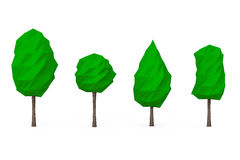 Set of Low Polygons Trees. 3d Rendering Stock Photography
