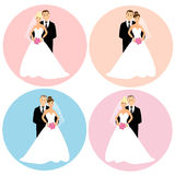 Set ślub pary Zdjęcia Royalty Free