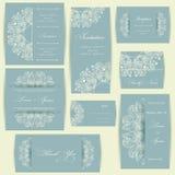 Set ślubne zaproszenie karty Zdjęcie Royalty Free