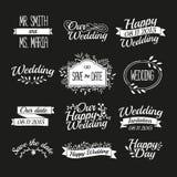 Set ślubnego rocznika retro logowie, znaki, etykietki Royalty Ilustracja