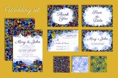Set Ślubni zaproszenia i bezszwowy wzór dla twój projekta Fotografia Royalty Free
