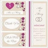 Set ślubni zaproszenia i zawiadomienia Zdjęcie Stock