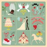 Set ślubni zaproszenie projekta elementy, ikony. Rocznik Obrazy Stock