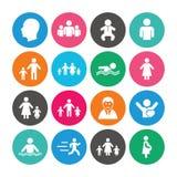 Set ludzi i rodziny ikony baseny parasoli pływający wody Zdjęcia Royalty Free