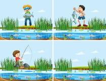 Set ludzie łapie ryby ilustracji