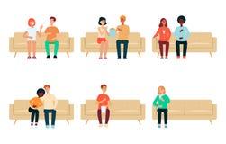 Set ludzie i pary siedzi na leżanki kreskówce projektujemy royalty ilustracja