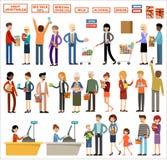 Set ludzie w supermarkecie na białym tle Zakupy, produkty, zakupy ilustracji