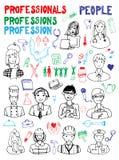 Set ludzie zajęć Doodles Obraz Royalty Free