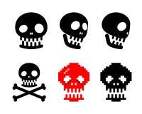 Set ludzka czaszki ikona, wektor Fotografia Royalty Free