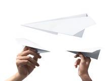 Set ludzki ręki mienia papieru samolot Obrazy Stock