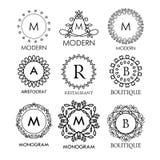 Set luksusu, prostych i eleganckich błękitni monograma projekta szablony, Obraz Royalty Free