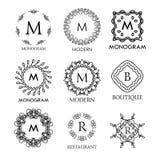 Set luksusu, prostych i eleganckich błękitni monograma projekta szablony, Obrazy Stock