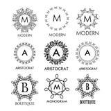 Set luksusu, prostych i eleganckich błękitni monograma projekta szablony, Fotografia Stock